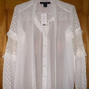 French Connection crochet sleeve blouse S